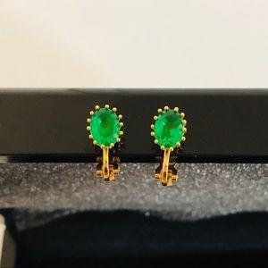 Jewelry - Emerald stud clip on earrings